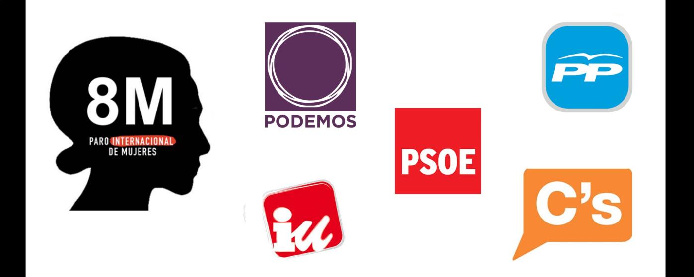 pp, psoe, ciudadanos, podemos, izquierda unida, 8 de marzo, huelga feminista, política, igualdad